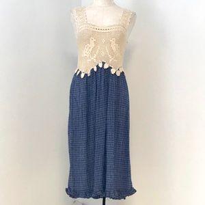 Vintage 70s Boho Crochet Top Print Midi Dress